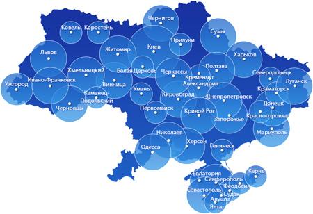 Реклама на Русском радио - Карта покрытия